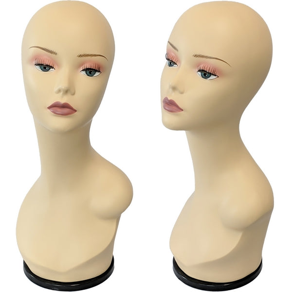 MN-436D Female Mannequin Head Display Form with Turn Table Base - DisplayImporter