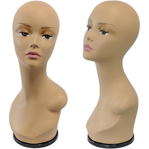 MN-436E Tanned Female Mannequin Head Display Form with Turn Table Base - DisplayImporter