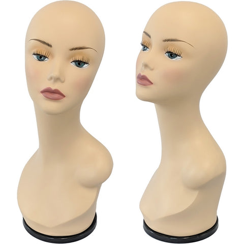 MN-436F Female Mannequin Head Display Form with Turn Table Base