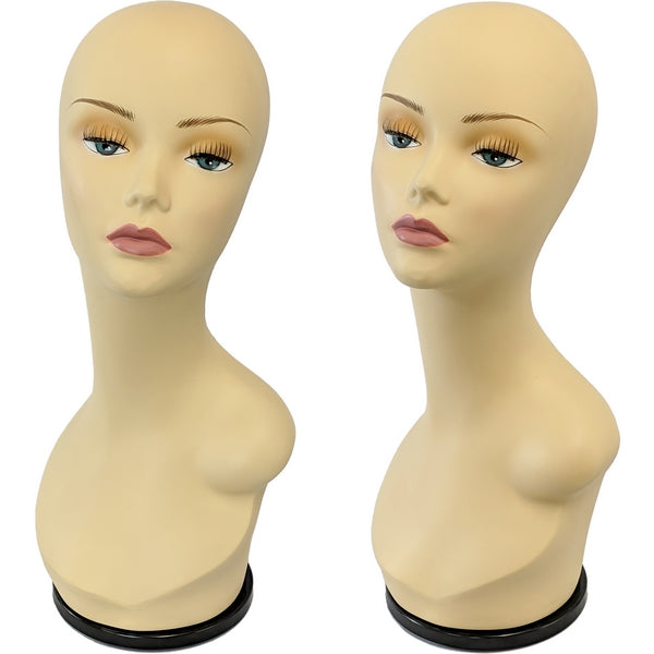 MN-436G Female Mannequin Head Display Form with Turn Table Base - DisplayImporter