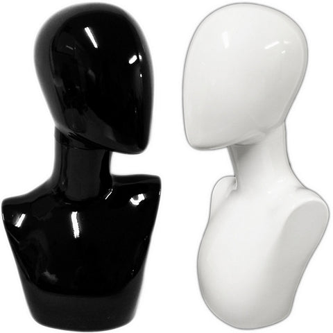 MN-438 Glossy Female Abstract Egghead Mannequin Head Form w/ Swivel Neck - DisplayImporter