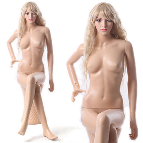 MN-440 Female Plastic Sitting Mannequin with Pedestal - DisplayImporter