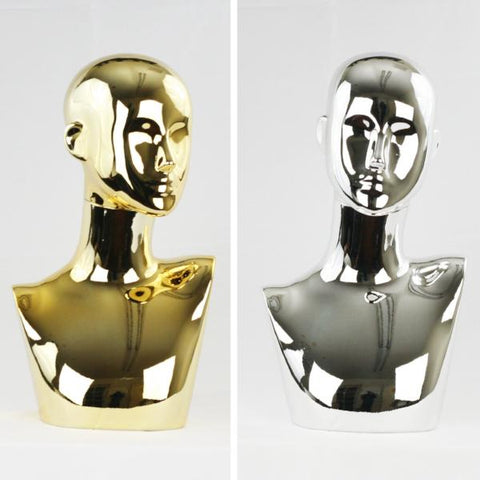 MN-441 Chrome Female Abstract Mannequin Head Display with Pierced Ears - DisplayImporter