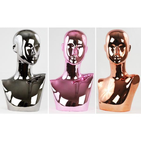 MN-442 Chrome Female Abstract Mannequin Head Display with Pierced Ears