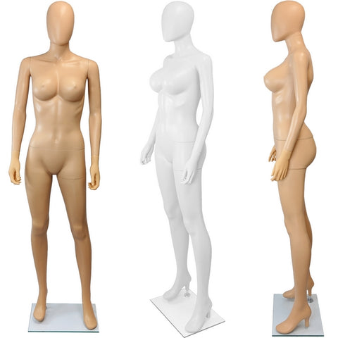 MN-445 Plastic Busty Ladies Full Size Mannequin with Removable Egghead - DisplayImporter
