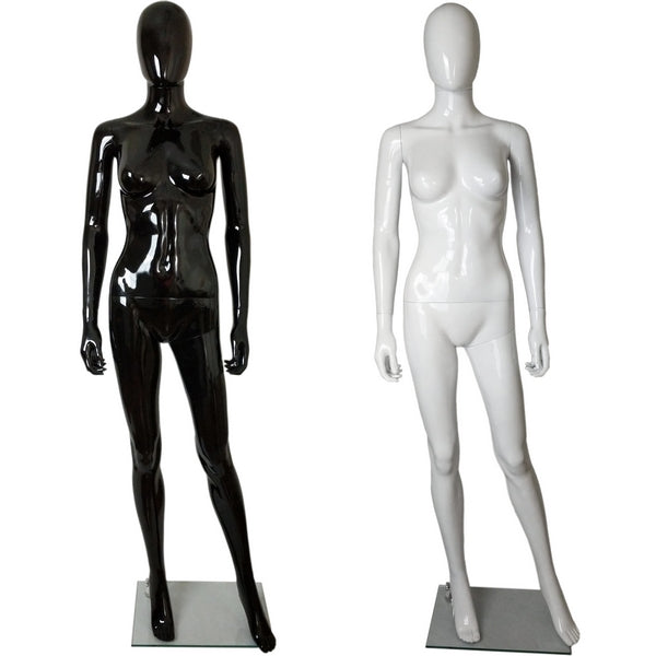 MN-450 Glossy Plastic Egghead Female Full Size Mannequin with Removable Head - DisplayImporter