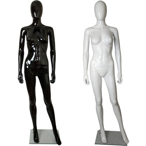 MN-450 Glossy Plastic Egghead Female Full Body Mannequin with Removable Head - DisplayImporter