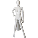 MN-451 Glossy Plastic Female Egghead Sitting Mannequin with Pedestal - DisplayImporter
