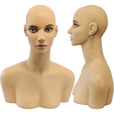 MN-508 Female Mannequin Head Form with Shoulder Bust - DisplayImporter