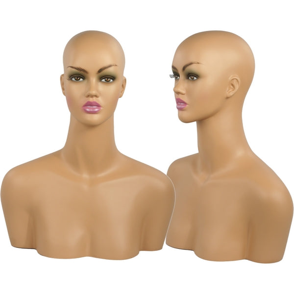 MN-511C Tanned Female Mannequin Head Display Form with Shoulder Bust - DisplayImporter