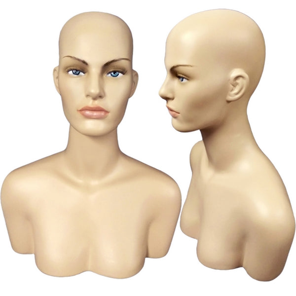 MN-514A Female Mannequin Head Display Form with Shoulder Bust - DisplayImporter