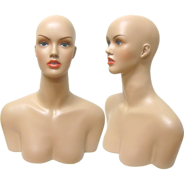 MN-514 Female Mannequin Head Form with Shoulder Bust