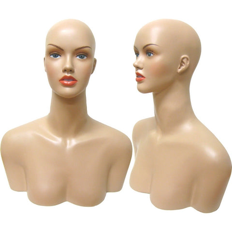 MN-514 Female Mannequin Head Form with Shoulder Bust - DisplayImporter