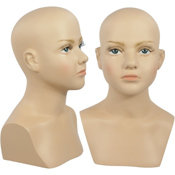 MN-518 Child Mannequin Head Form with Bust - DisplayImporter