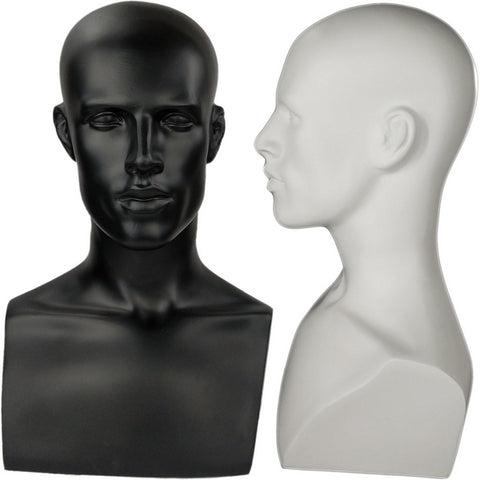 MN-521 Male Mannequin Head Form with Bust - DisplayImporter