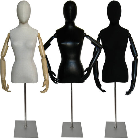 MN-602 Ladies Egghead Dress Form with Articulate Arms - DisplayImporter