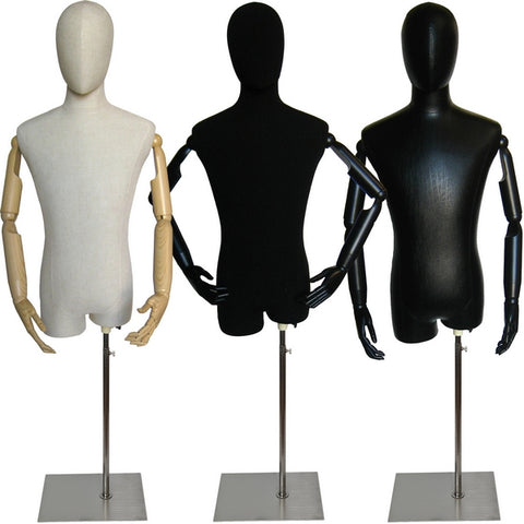 MN-603 Male Egghead Dress Form with Articulate Arms - DisplayImporter