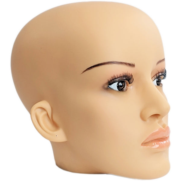 MN-C2 Plastic Female Realistic Head Attachment for Mannequins/Forms, has Pierced Ears - DisplayImporter