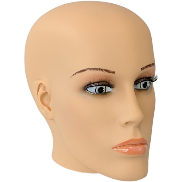 MN-S7 Plastic Female Realistic Head Attachment for Mannequins/Forms, has Pierced Ears