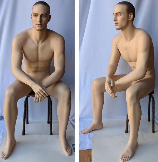 MN-MSIT2 Euro Male Sitting Mannequin with Hyper Realistic Facial Features (Pedestal Not Included) - DisplayImporter