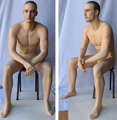 MN-MSIT2 Euro Male Sitting Mannequin with Hyper Realistic Facial Features (Pedestal Not Included)