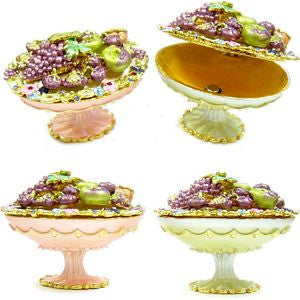 PB-002 Festival Fruits Decorative Enamel Pill Box Container, Trinket Box - DisplayImporter