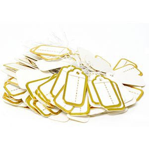 PG-024 100 pcs Scalloped String Tags - Gold Color - DisplayImporter