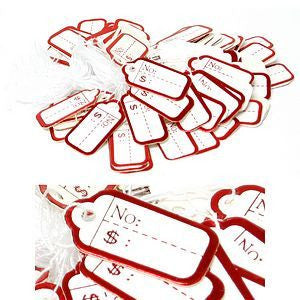 PG-025 100 pcs Scalloped White String Price Tags - Red - DisplayImporter