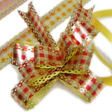 PG-030 Metallic Checkerboard Pattern Butterfly Pull Ribbon - Pack of 10