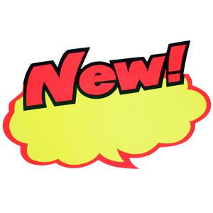 "PG-059 Large Day-Glo Orange & Yellow ""New!"" Ad Sign - Pack of 12  - DisplayImporter.com"