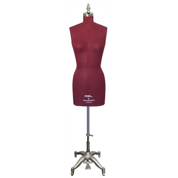 PMP-603 Maroon Pinnable Dress Maker Ladies Form with Hip and Collapsible Shoulders