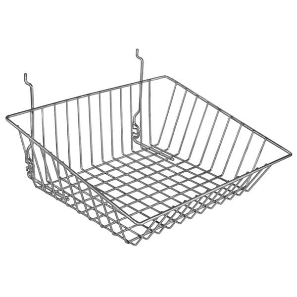 AF-047 Shallow Front Sloping Gridwall/Slatwall Basket - DisplayImporter