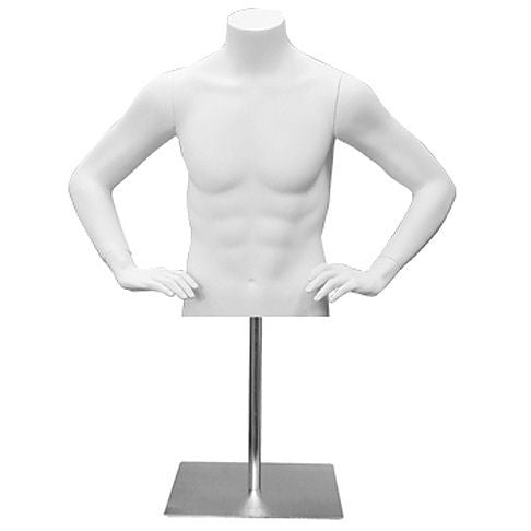 AF-132 Countertop Headless Male Half Torso Mannequin Form with Arms and Base - DisplayImporter