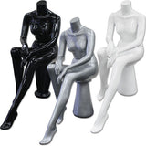 AF-199 Glossy/Matte Female Seated Headless Mannequin with Pedestal - DisplayImporter