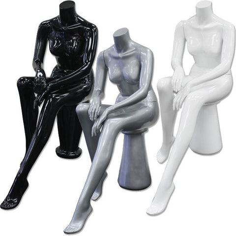 AF-199 Glossy/Matte Female Seated Headless Mannequin with Pedestal  - DisplayImporter.com - 1
