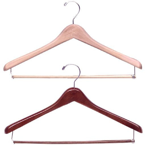 "AF-H800LB 17"" Wood Coat Hanger with Lockbar - Pack of 50 - DisplayImporter"