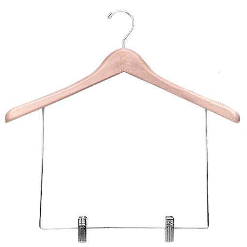 "AF-H800S3 17"" Wood Coat Hanger with Clips - Pack of 50 - DisplayImporter"