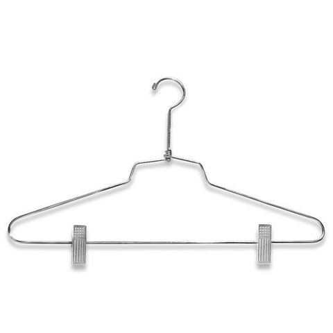 "AF-H9206 16"" Chrome Suit Hangers with Clips - Pack of 100 - DisplayImporter"