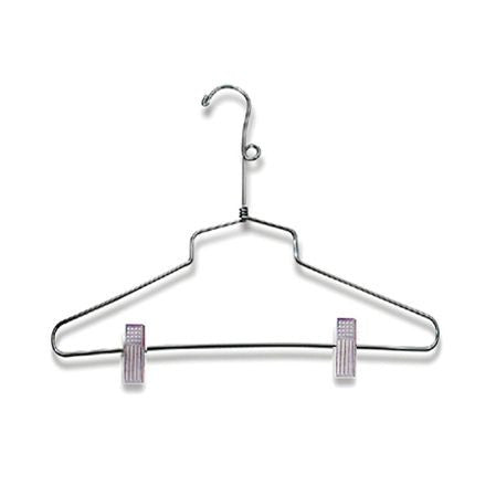 "AF-H920SB4 14"" Chrome Suit Hangers with Clips and Loop - Pack of 100 - DisplayImporter"