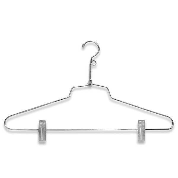 "AF-H920SB6 16"" Chrome Suit Hangers with Clips and Loop - Pack of 100 - DisplayImporter"
