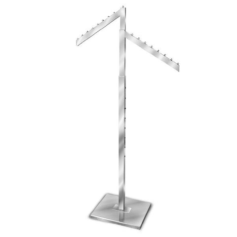 AF-R2SR 2 Way Adjustable Rack with 2 Slant Arms - Raw Steel - DisplayImporter