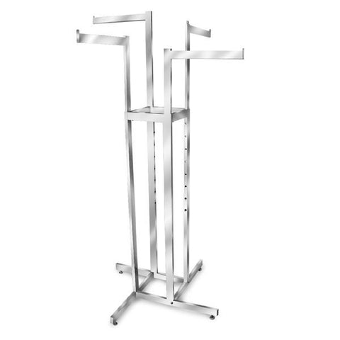 AF-R4R 4 Way Adjustable Rack with 4 Straight Arms - Raw Steel - DisplayImporter