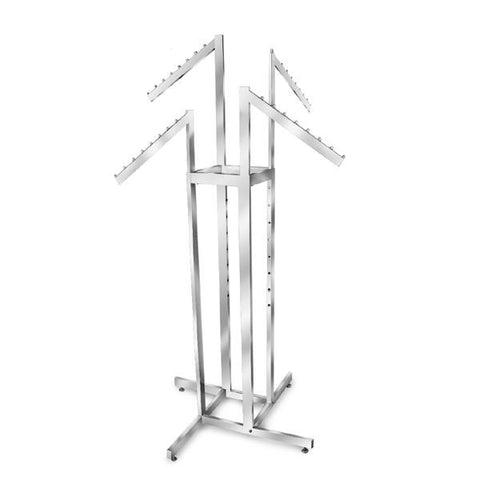 AF-R4SR 4 Way Adjustable Rack with 4 Slant Arms - Raw Steel  - DisplayImporter.com