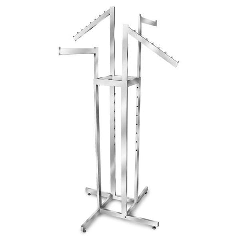 AF-RR422 4 Way Adjustable Rack with 2 Straight, 2 Slant Arms - Chrome - DisplayImporter
