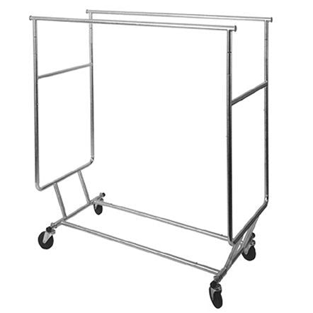 AF-RSWF-DBL Collapsible Double Round Tubing Salesman Rolling Rack - DisplayImporter