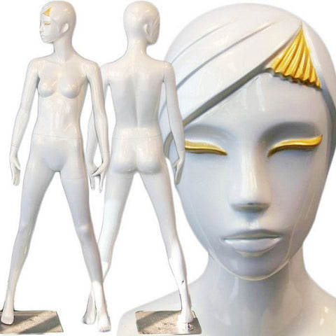 AFD-DMG1033 Ladies Full Size Standing Glossy Pearl White Mannequin - Anise - DisplayImporter