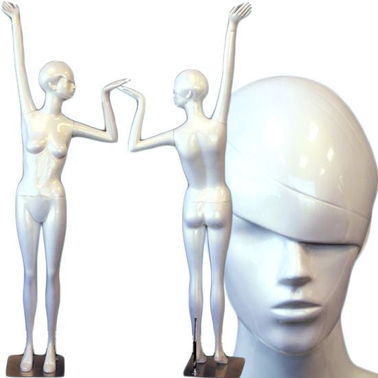 AFD-SHF9 Ladies Full Size Standing Glossy Pearl White Mannequin - Willow  - DisplayImporter.com