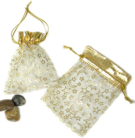 "BG-009 Medium Stars and Moons Satin Mesh Organza Drawstring Pouch - 5"" H x 3.5"" W - DisplayImporter"