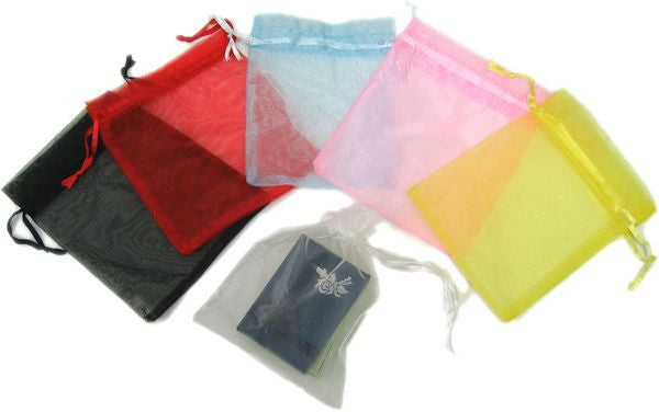 "BG-012 Satin Mesh Organza Pouch with Drawstring Ribbon - 5.91"" H x 4.72"" W - DisplayImporter"