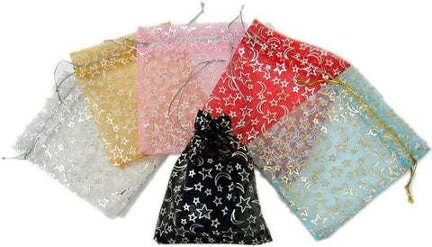 "BG-024 Stars and Moons Satin Mesh Organza Drawstring Pouch - 5.12"" H x 3.94"" W - DisplayImporter"